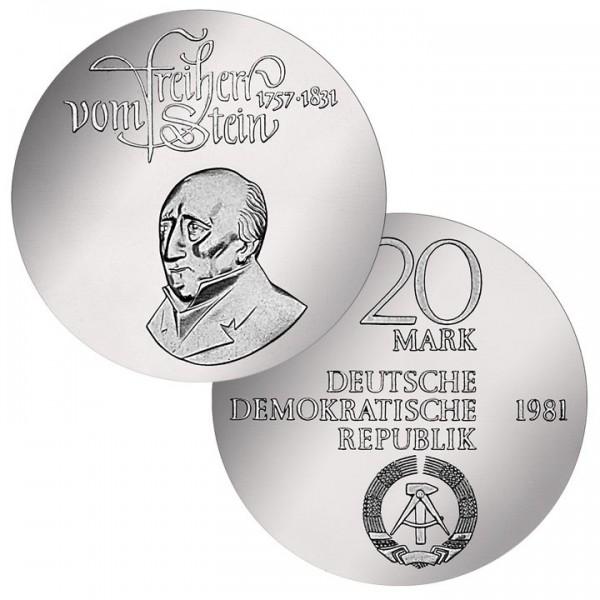 DDR Münze 1981, 20 M, PP 150. Todestag Freiherr von Stein