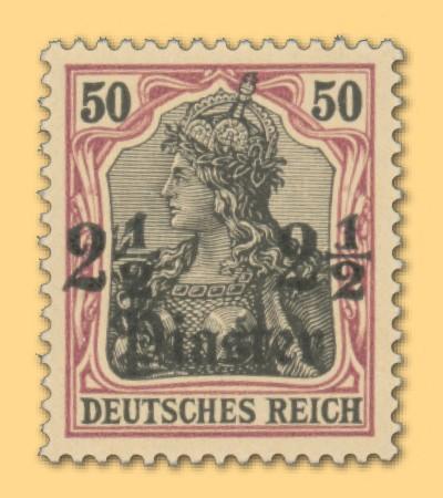 Dt. Post in d. Türkei MiNr. 30 ** FM Germania 2 1/2 Pia auf 50Pf.