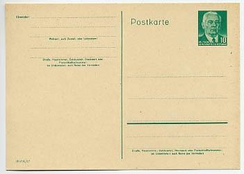 DDR Ganzsache P 68a * 10Pf. - rahmfarben W. Pieck- neue Zeichnung