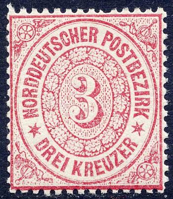 Norddeutscher Postbezirk MiNr. 21 ** 3 Kreuzer / karmin
