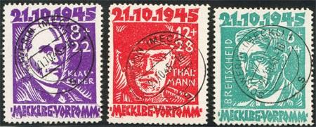 SBZ M./V. MiNr. 20/22 o  Opfer des Faschismus