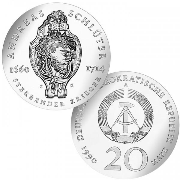 DDR Münze 1990, 20 M, st 275. Todestag Andreas Schlüter