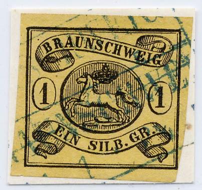 Braunschweig MiNr. 6a o 1 Silbergroschen / schwarz auf sämisch