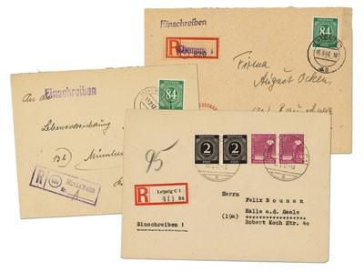 All.Bes.GA 3 versch. Kontrollrat-R-Briefe mit R-Zettel