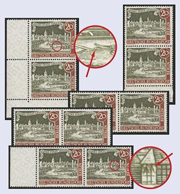 Berlin MiNr. 159 I - V ** Plattenfehler-Set 5 Werte 725 Jahre Stadt Spandau