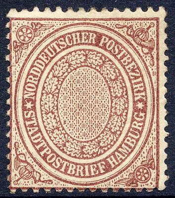Norddeutscher Postbezirk MiNr. 24a * 1/2 Schilling / violettbraun