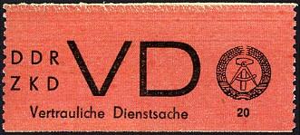 DDR Dienstmarken D MiNr. 1A ** Aufkleber für VD, weißes Papier, senkr. gez.
