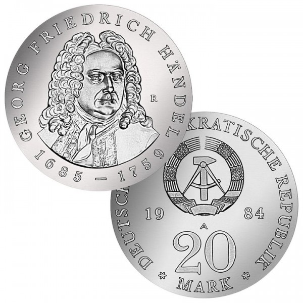 DDR Münze 1984, 20 M, PP 225. Todestag Georg F. Händel