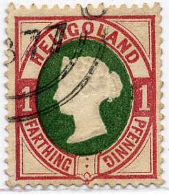 Helgoland MiNr. 11 o 1Pf/1F lilakarmin/dkl.grün