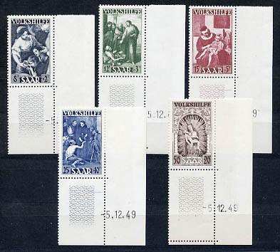 Saarland MiNr. 267/71 Br ** Volkshilfe, Eckrandstücke mit kompl. Druckdatum