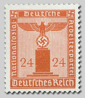 """Dt. Reich Dienst MiNr. 163 Y ** gepr. """"Adler auf Sockel"""", waager. Gummiriffelung"""