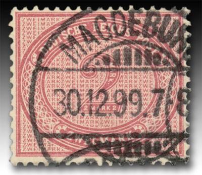 """Dt. Reich MiNr. 37f o gepr. Farbe """"lilakarmin"""" Freimarke für den Innendienst, Ziffer im Oval"""