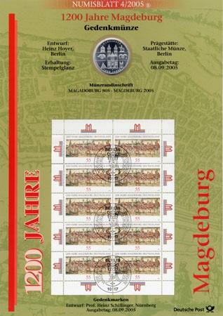 BRD Numisblatt 4/2005 1200 Jahre Magdeburg
