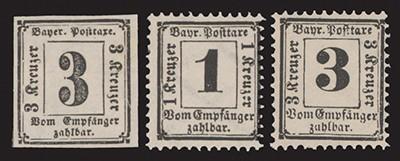 Bayern Portomarken MiNr. 1-3 ** Portomarken der Kreuzer-Zeit