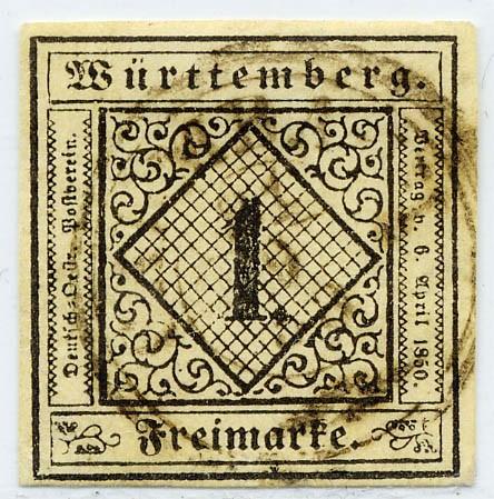 Württemberg MiNr. 1b o 1 Kreuzer, sämisch