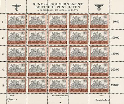 Generalgouvernement MiNr. 116 ** Bogen FM: Bauwerke (25 Marken - 10 Zl