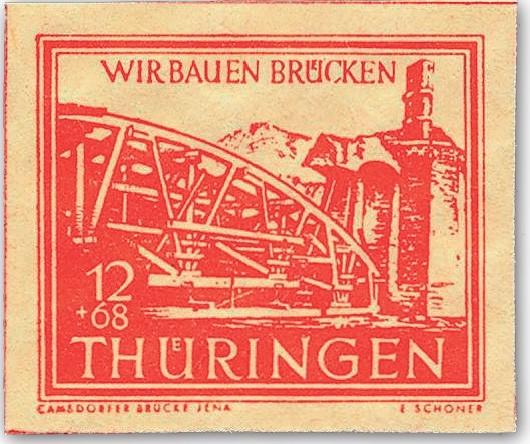 SBZ Thür. MiNr. 113a yy ** gepr. 12+68 Pf Wiederaufbau Brücken-orangerot