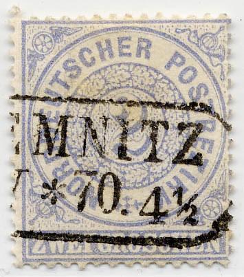 Norddeutscher Postbezirk MiNr. 17 o 2 Groschen / graublau