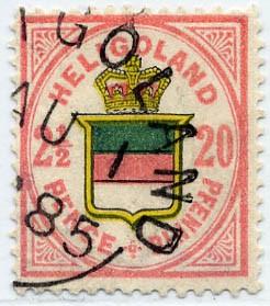 Helgoland MiNr. 18d o 20Pf/2 1/2 P rot/rötlichgelb/graugrün