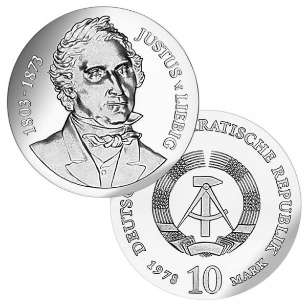 DDR Münze 1978, 10 M, st 175. Geburtstag Justus v. Liebig