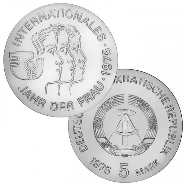 DDR Münze 1975, 5 M, st Internationales Jahr der Frau