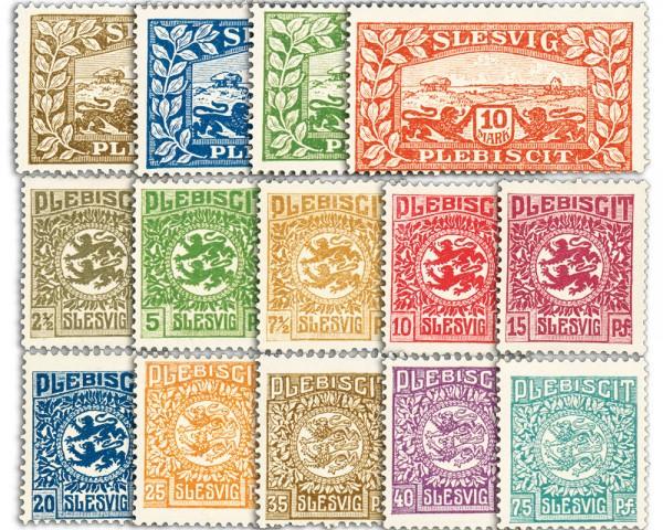 Dt. Abst.Geb. Schleswig MiNr. 1/14 ** Freimarken in Reichsmark