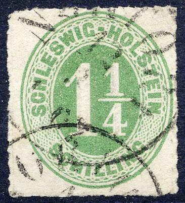 Schleswig-Holstein MiNr. 9 o 1 1/4 Schilling - dkl.gelbl.grün