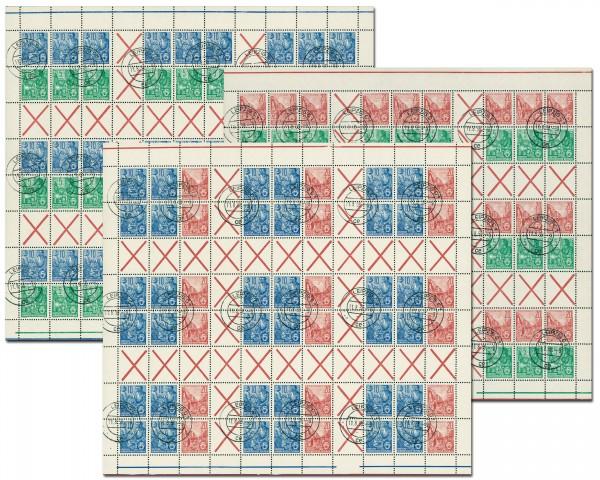 DDR MHB 4/6 o MiNr. 577A , 578A u. 580A Fünfjahrplan (1957)