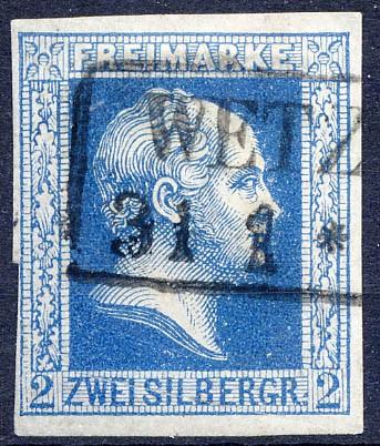 Preußen MiNr. 7c o 2 Sgr dunkelblau