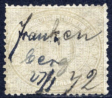 Norddeutscher Postbezirk MiNr. 25 ~ 10 Groschen / braungrau / Federzug