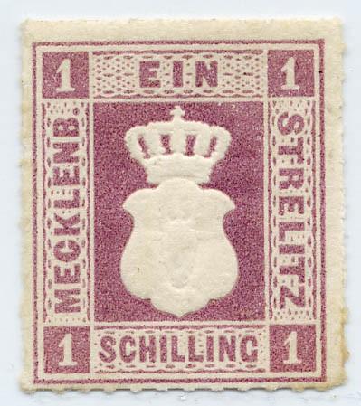 Mecklenb.-Strelitz MiNr. 3 ** 1 Schilling / grauviolett