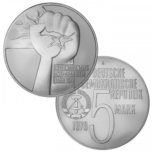 DDR Münze 1978, 5 M, st Internat. Anti-Apartheid Jahr