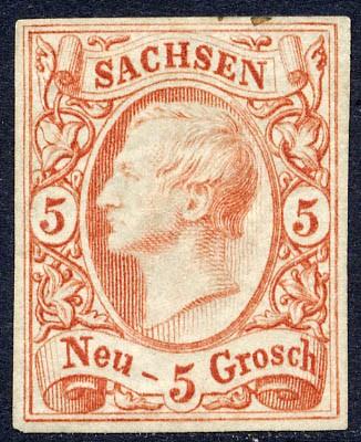 Sachsen MiNr. 12a * 5 Ngr./ König Johann I. /ziegelrot