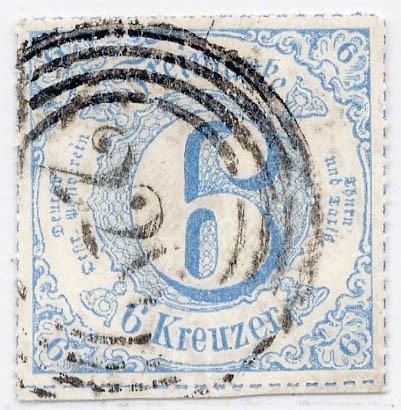 Thurn & Taxis MiNr. 53 o 6 Kr., blau, durchstochen