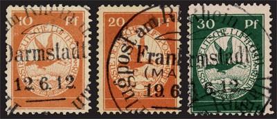 Dt. Reich Flugpostmarken MiNr. I - III o Flugpost am Rhein und Main, 1912