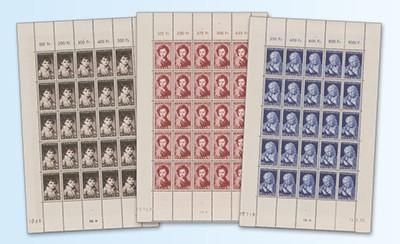 Saarland Bogensatz MiNr. 338/340 ** Volkshilfe 1952: Gemälde III