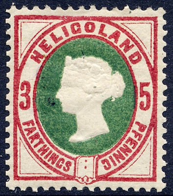 Helgoland MiNr. 13a * 3Pf/5F dkl.lilakarmin/grün