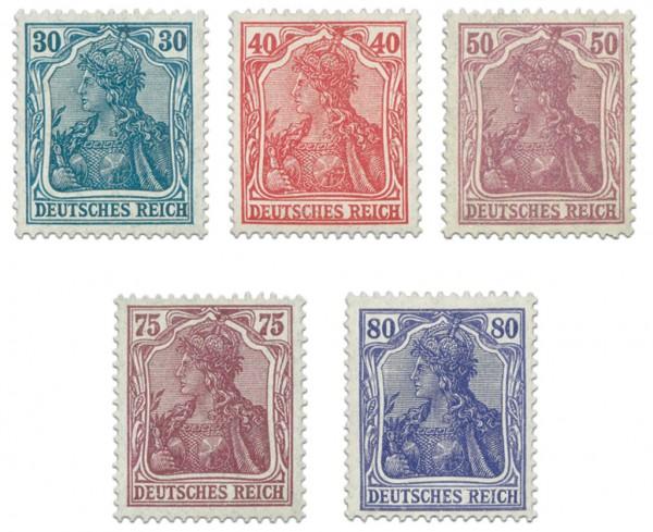 """Dt. Reich MiNr. 144/49 I ** FM """"Germania"""" (5 verausg. Marken Typ I)"""