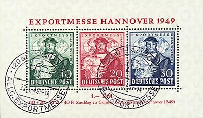 Bizone MiNr. 103/05 o Bl.1a, Sonderstempel Exportmesse Hannover 1949