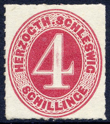 Schleswig-Holstein MiNr. 3 * 4 Schilling - karminrot