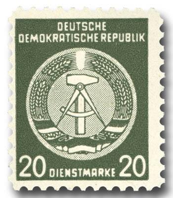 DDR Propagandafälschung MiNr. 8 ** PFÄ der DDR Dienstmarke A 8 (20 Pf.)