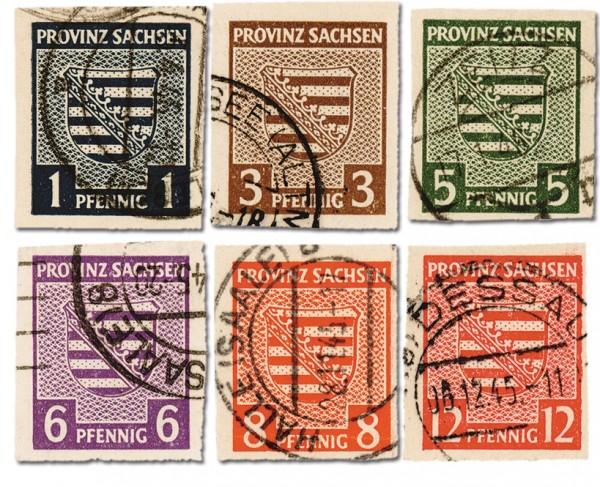 SBZ Prov.Sa. MiNr. 66/71 X o Freimarken Provinzwappen