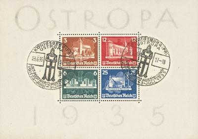 Dt. Reich Bl. 3 MiNr. 576/79 o (FA) Briefmarken-Ausstellung OSTROPA