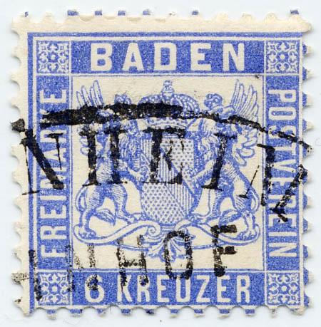 Baden MiNr. 19a o 6 Kreuzer / ultramarin / Wappen-gez.