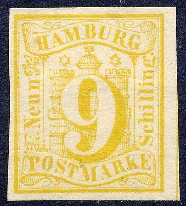 Hamburg MiNr. 7 * 9 Schilling / hellgelb