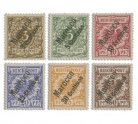 Dt. Post in Marokko MiNr. 1/6 ** Komplettsatz mit Aufdruck