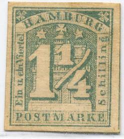 Hamburg MiNr. 8c * 1 1/4 Schilling /grau