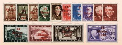 Dt. Besetzung Albanien MiNr. 1/14 ** Marken mit rotem u. braunem Aufdruck (14 Werte)