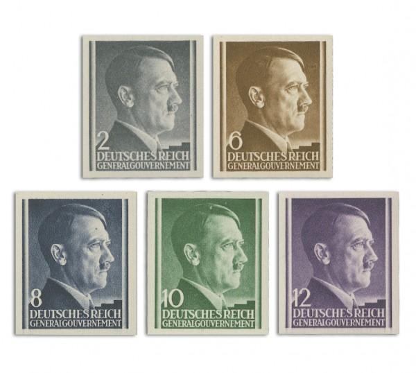 Generalgouvernement MiNr. 71/75 U ** FM: Adolf Hitler, ungezähnt