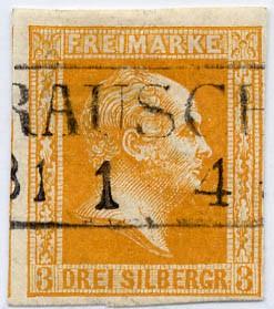 Preußen MiNr. 8c o 3 Sgr dkl.gelbl.orange/geschnitt./glatt